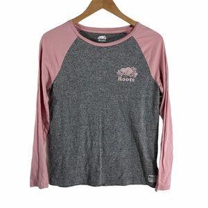 Roots Salt and Pepper Pink Baseball T-shirt Top